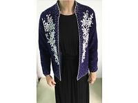 Genuine vintage 1950's decorative blue cardigan/jacket with white handstitched beading.