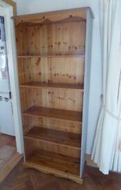 Tall Solid Pine Bookcase - 5 shelves - 3 adjusting 182cm High x 77cm Wide x32cm Deep