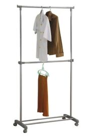 Argos Adjustable Chrome Plated 2 Tier Clothes Rail - Used Once