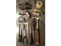 DIY - Set of Hand tools : cordless screwdriver, analogue multi-meter, screws, hammer, cutter ...