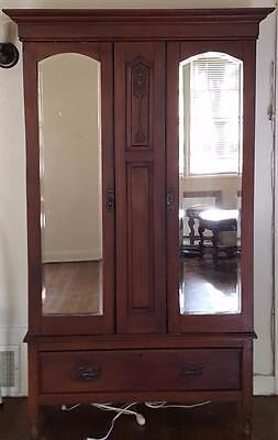 Wonderful Victorian Era Armoire - Mirrored Doors - GREAT CARVED DETAIL ON FRONT