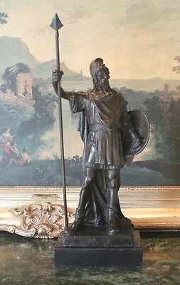 Roman Warrior Soldier Spear Shield Military Art Collector Bronze Marble Statue