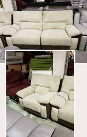 Brown & baige jumbo cord 3 seater sofa & chair recliner