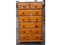 Solid Pine Chest of Drawers /Tallboy/7 drawers/Croydon/Surrey/Can deliver locally