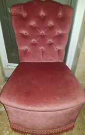 Vintage Girls Pink Velvet Chair