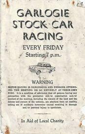 NOSTALGIC ORIGINAL GARLOGIE STOCK CAR RACING (1960's) COLLECTABLE PROGRAMME COVER