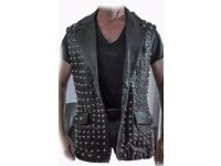 Original 1970's leather studded waistcoat