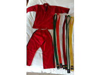 Child's Karate Suit Outfit Pyjamas and 6 Belts age 8-9 years