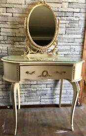 Vintage French Louis IV dressing table & mirror