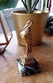 Wax Seal Stamp Bronze Art Nouveau Deco by Maurice Frecourt Bird Marabou Marble Sculpture Art & Craft