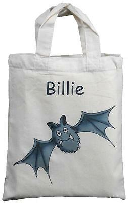 Personalized Halloween Goodie Bags (PERSONALISED - BAT - SMALL COTTON GIFT / GOODY BAG  Halloween trick or)