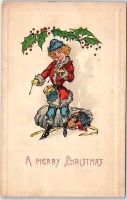 1910s Christmas Embossed Postcard Girl in Santa Claus Suit Playing Drum](Girl In Santa Suit)