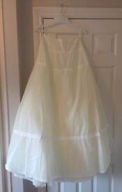 Wedding dress bundle dress veil underskirt and hoop wrap size 8 shoes size 5 immaculate condition