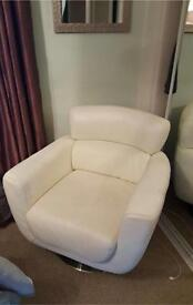 Home Furniture,Italian Leather, Swivel Armchair