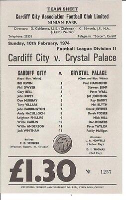 CARDIFF CITY v CRYSTAL PALACE 1973/74  10th February