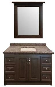 "Bathroom Furniture Cabinet Super Hot Deal- 48"" Solid Wood Maple Vanity w/ Framed Mirror and 3cm Granite Top in 24 Colors"