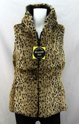 Kristen Blake Reversible Faux Fur Hooded Vest Leopard Size 2X Full Zip Black -