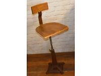 Industrial Singer swivel office chair wooden desk kitchen factory metal vintage antique machinist