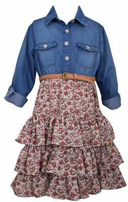Bonnie Jean Denim To Floral Tiers Dress Girls Country Casual Theme Braided - Girls Country Dress