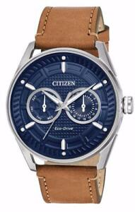 Citizen Men's Blue Dial Day Date BU4020-01L Eco Drive Brown Leather Band Watch