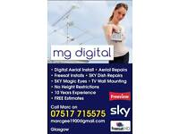 Cheap digital TV aerial installations GLASGOW - 5 star reviews