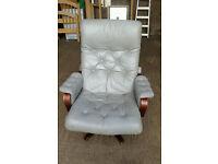 Grey Leather Office Armchair