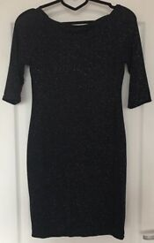 Quarter Sleeve Black/Blue Sparkly Dress, UK 10