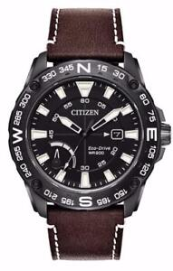 Citizen AW7045-09E Mens Eco-Drive Black Dial Compass Leather Strap Watch