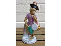 -THE DRUMMER- C19th MEISSEN MONKEY BAND/ORCHESTRA STYLE CROSS SWORDS FIGURE MODEL
