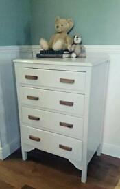 Painted vintage chest of drawers tallboy Dove grey satin retro