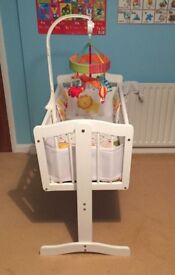 Dressed swing crib with safari mobile