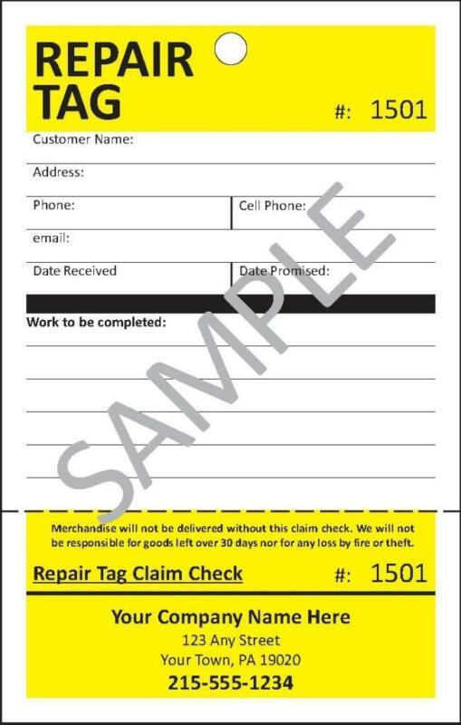 100 Repair Tags, Service Tag, Detachable Claim Check by CompuPrint