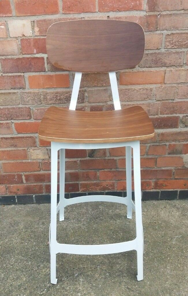Industrial Style Wood And White Metal Bar Stool In