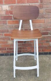 Industrial style wood and white metal bar stool