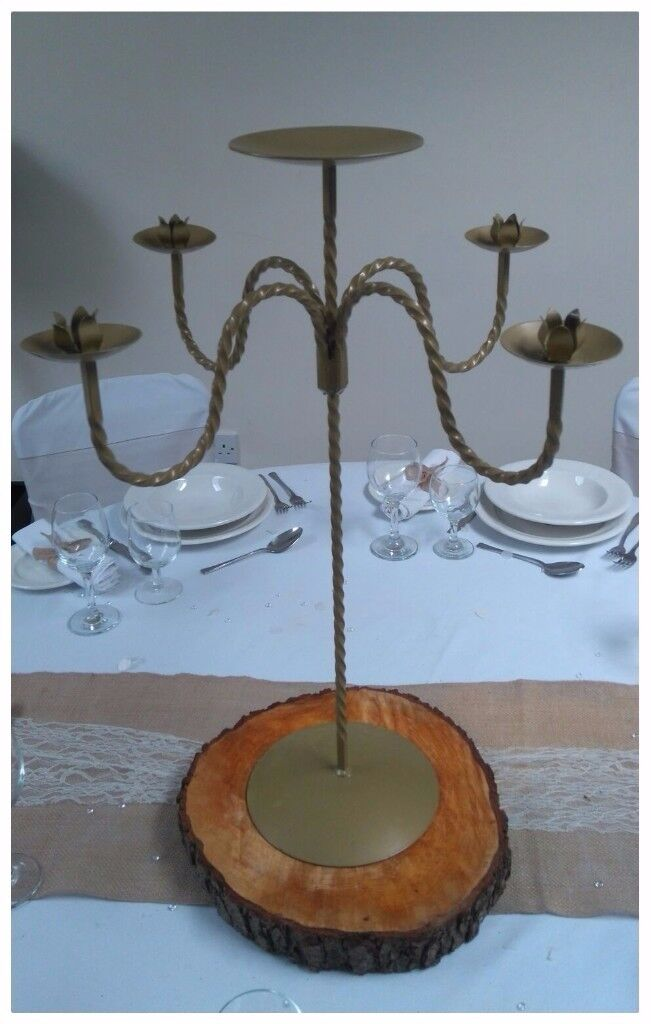 Job lot of Gold Metal Candelabras - ideal for weddings, Christmas parties, events etc.