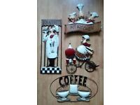Kitchen Metal Wall Hanging 3D Picture Chef Bon Appetit Coffee Plaque Restaurant Art French Sign