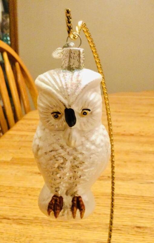 Rare Old World Great White Owl Christmas Ornament HTF