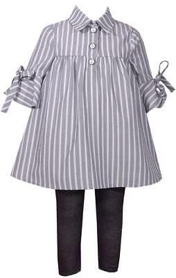 Blue And Grey Striped Leggings (Bonnie Jean Gray Striped Bell Sleeve Blue and Black Legging Pants)