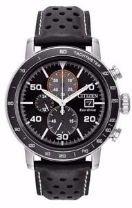 NEW Citizen CA0649-14E Mens Eco Drive Brycen Leather Band Chronograph Watch