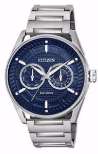 Citizen Mens Blue Dial Day Date BU4020-52L Eco Drive Stainless Steel Band Watch