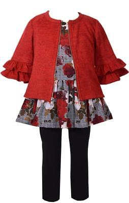 Bonnie Jean 3 Pc Floral Printed Dress w Red Ruffled Sweater and Black Pants Set - Floral Print Jumper Set