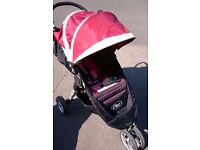 City Mini Jogger in Red/Cream with Raincover in Excellent Condition
