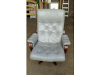 Grey Leather Office Armchair