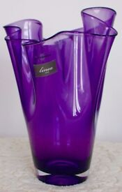 GORGEOUS, PURPLE FLOWER VASE - with FLUTED TOP - HAND MADE IN ITALY