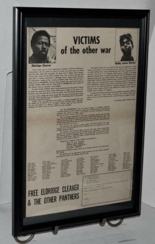 BLACK PANTHER 1972 ELDRIGE CLEAVER BOBBY HUTTON DEFENSE FUND POSTER / AD