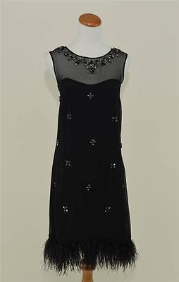 J.CREW COLLECTION $595 BEADED OSTRICH FEATHER DRESS 0 BLACK SILK JEWELED PARTY  - Black Ostrich Feather Dress