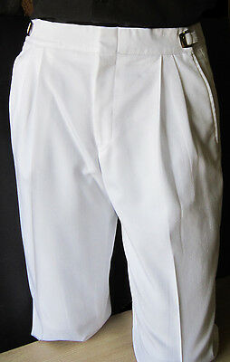 Mens White 30-32 Regular Adjustable Waist Tuxedo Pants Wedding Prom Discount