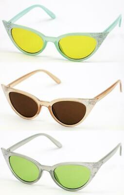 3 Pair Glitter Cat Eye Multi Color Lens Pinup Vintage Style Sunglasses (Cat Eye Color)