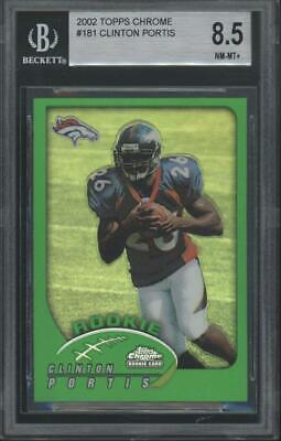 2002 Topps Chrome Refractor #181 Clinton Portis RC Rookie BGS 8.5