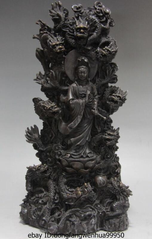 Tibet Buddhism Copper Bronze Nine Dragon Guan Yin Kwan-yin Boddhisattva Statue